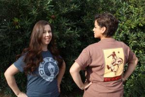 An image of two women wearing Clovis shirts