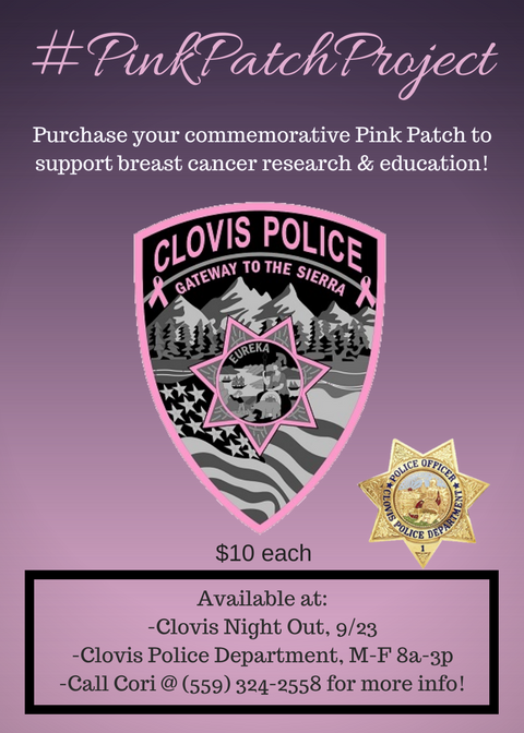 Clovis Police Joins the Pink Patch Project to Support Breast Cancer Awareness