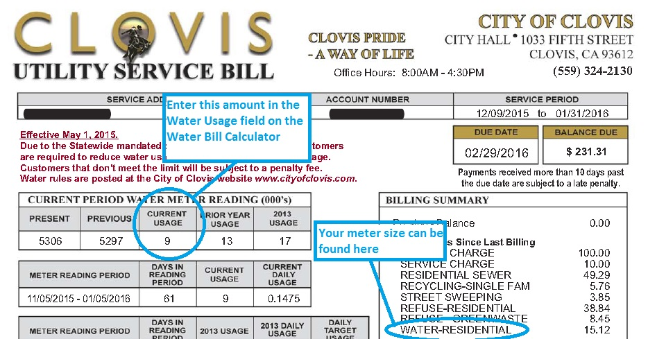 Water Bill Calculator - City of Clovis