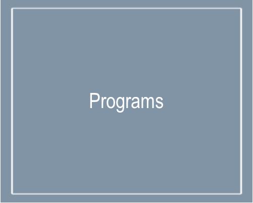 Text that says Programs