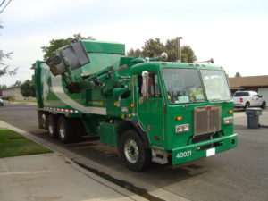this is a green City of Clovis refuse truck