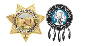 Logos of the Clovis Police Department and Table Mountain Racheria
