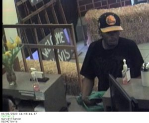 Screen shot of robbery suspect in the bank.