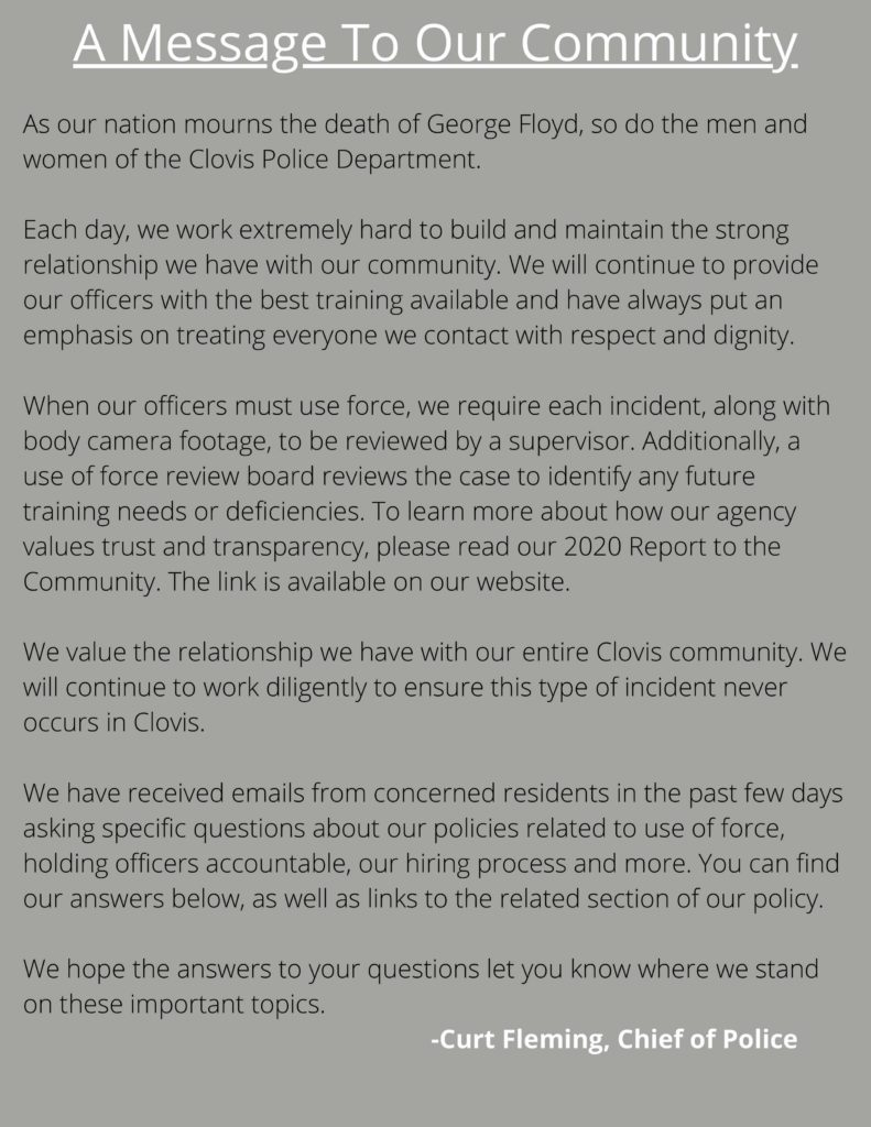 A message to our community by the Clovis Chief of Police
