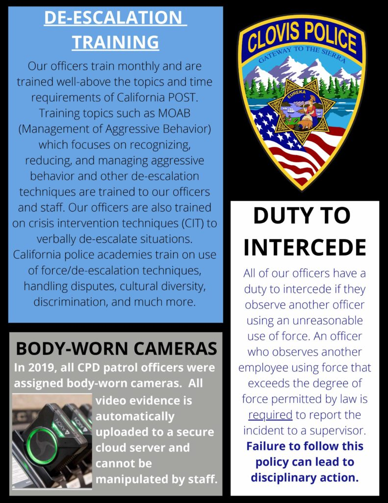 Image containing information about de-escalation training and body cameras