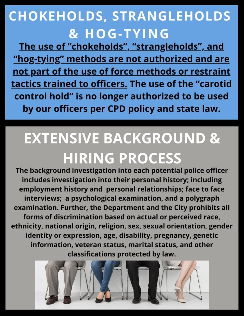 Information about chokeholds and background hiring practices