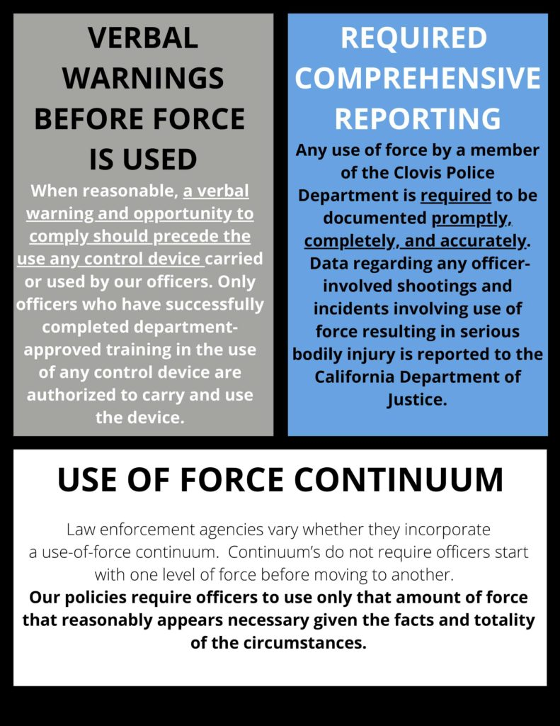 Information about warnings before use of force and required PD training