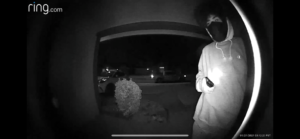Screenshot of Ring video showing suspect