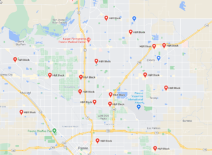Map of commercial locations burglarized by the suspect