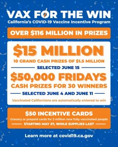 """Details on the CA program called """"VAX for the WIN"""". 10 grand cash prizes of 1.5 million dollars."""