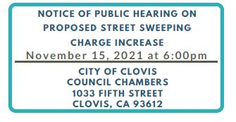 Proposed Street Sweeping Charge Increase